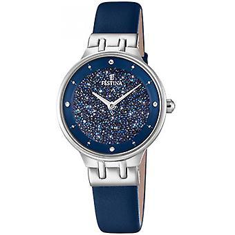 Festina klocka Miss F20404-2 - visar stål SWAROVSKI blå armband läder blå kvinna