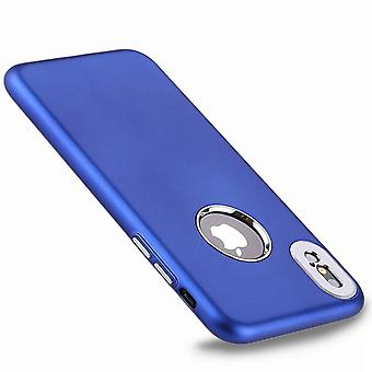 Para iPhone XS, X Back Case, Styled Metal Button High-Quality Protective Cover, Azul