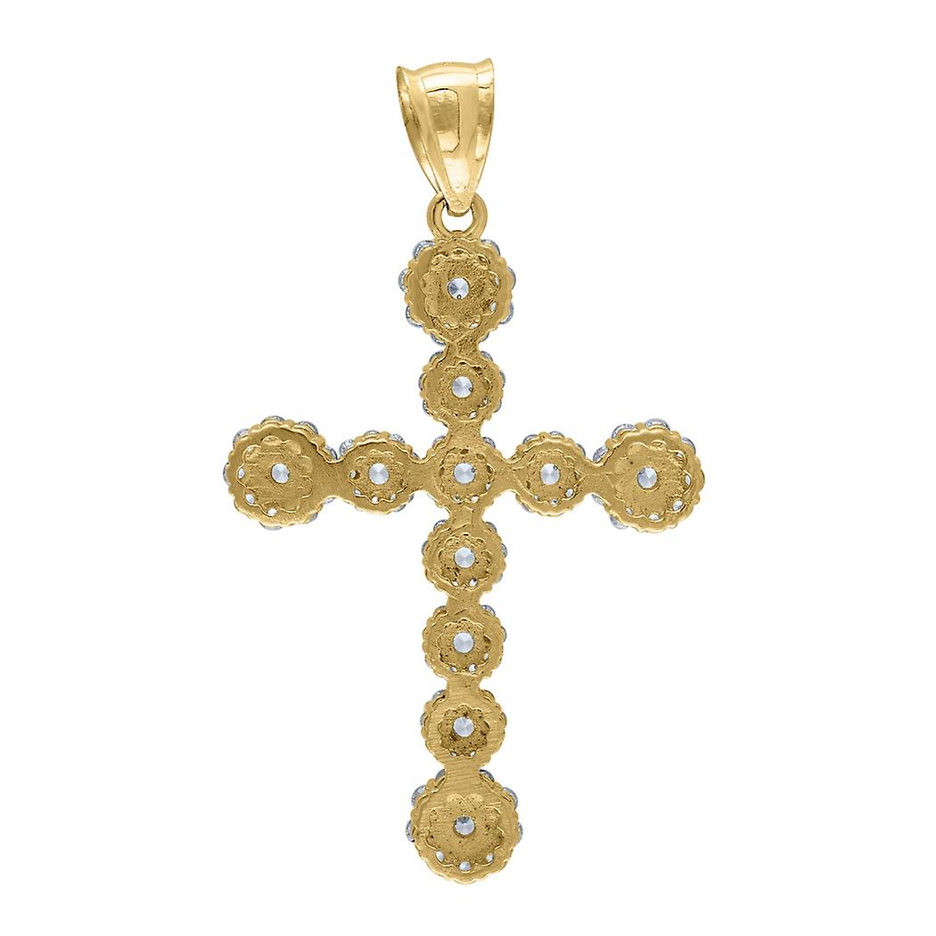 10k Yellow Gold Mens Women Cubic Zirconia CZ Cross Religious Charm Pendant Necklace Measures 45.9x26.80mm W Jewelry Gift