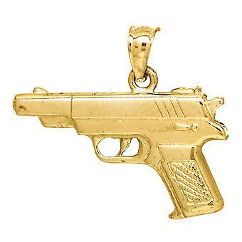 10k Giallo Oro Uomo Charm Ciondolo Collana Misura 21.8x22.80mm Regali di gioielli larghi per gli uomini