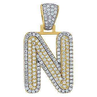 925 Sterling Silver Yellow tone Mens Women CZ Letter Name Personalized Monogram Initial N Charm Pendant Necklace Measure