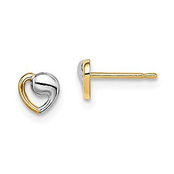 14k Madi K and White Rhodium Love Heart Post Earrings Jewelry Gifts for Women - .4 Grams