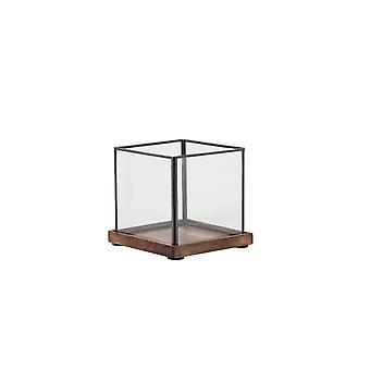 Lichte en levende orkaan 16,5x16,5x15,5 cm - Chibo Wood Brown-Black-Glass