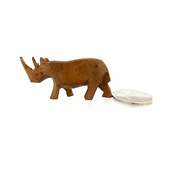 Handmade Wooden Rhino Figurine for Home Décor – 4.5cm