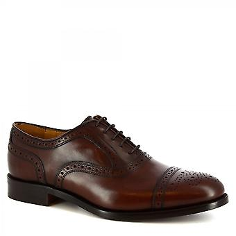 Leonardo Shoes Men's handmade brogues oxford shoes in dark brown calf leather