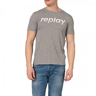 Replay Logo Print T-Shirt Grijs M3005