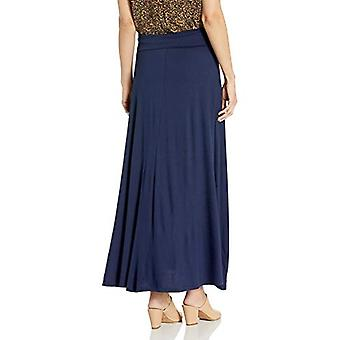 AGB Women's Timeless Soft Knit Maxi Skirt (Petite en Standard, Navy, Size Large
