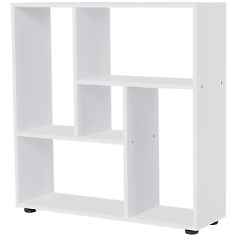 HOMCOM Multi-Directional Shelf Bookcase Home Display Square Frame w/ Melamine Surface Foot Pads Living Room Bedroom Furniture White