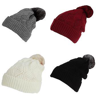 Rock Jock Womens/Ladies Winter Hat With Detachable Faux Fur Pom Pom