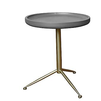 """Sleek Round Gray Wood and Goldtone Side End Table 22"""" H"""