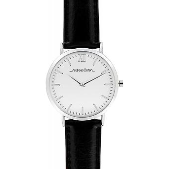 Watch Andreas Osten AO-46 - Black Leather Watch Bo tier Mixed Silver