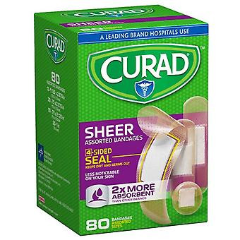 Curad sheer assorted bandages, 4-sided seal, 80 ea