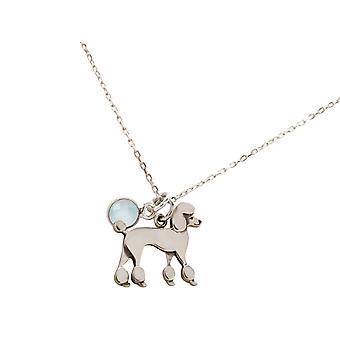 Halskjede puddel puddel hund chalcedony i 925 sølv, gullbelagt eller rose