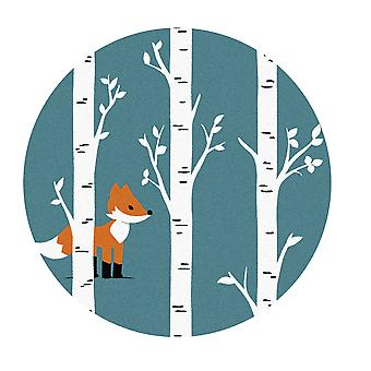 Kids Rug - Fox - Washable - Circle 150 cm