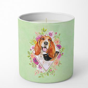 Basset Hound Green Flowers 10 oz Decorative Soy Candle