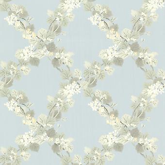 Claremont Jasmine Floral Trellis Wallpaper Blue Fine Decor FD68757