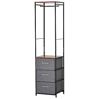 HOMCOM 175x43cm Freestanding Clothes Hanger Storage Unit Steel Frame 5 Drawers Handles Shelf Adjustable Feet Bedroom Hallway Home Furniture Organisation Black Brown