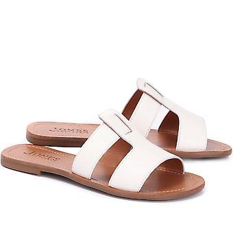 Jones Bootmaker Womens Flat Leather Slider Sandals