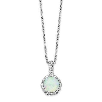 10,92mm Cheryl M 925 Sterling Silver CZ Cubic Zirconia Simulated Diamond and Lab Created White Opal Necklace 18.5 Inch J