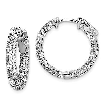925 Sterling Silver Pave Polished Rhodium plated Rhodium Plated With CZ Cubic Zirconia Simulated Diamond Hinged Hoop Ear