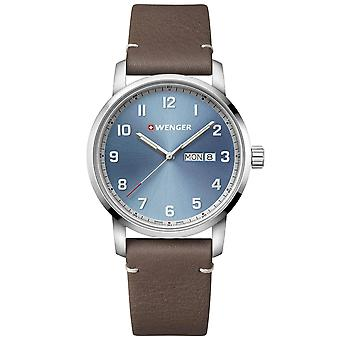 Wenger Attitude Heritage Quartz Blue Dial Brown Leather Strap Men's Watch 01.1541.118 RRP £149