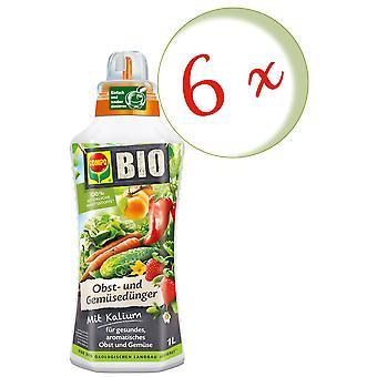 Sparset: 6 x COMPO ORGANIC fruit and vegetable fertilizer, 1 litre