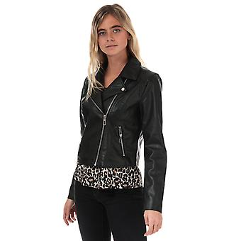 Women's Jacqueline de Yong Esma Short Faux Leather Jacket in Black