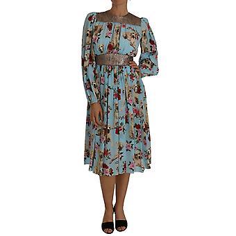 Dolce & Gabbana Blue Silk Labrador Dog Roses Print Dress
