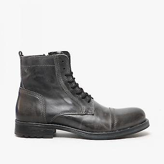Jack & Jones Russel Mens Leather Ankle Boots Castlerock