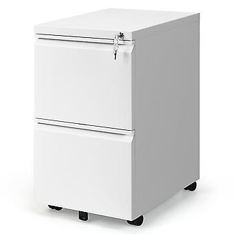 Metal Lockable Metal Rolling Mobile Filing Cabinet Pedestal File Storage Organiser 2 Drawers White