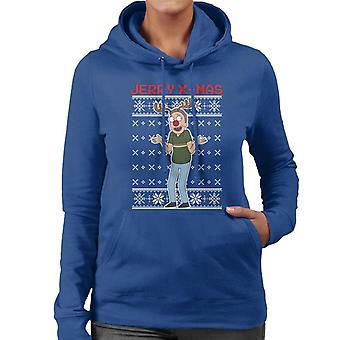 Rick og Morty Christmas Jerry Xmas rensdyr Antlers kvinder ' s hættetrøje