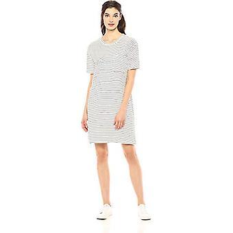 Marke - Tägliche Ritual Frauen's Supersoft Terry Short-Sleeve Boxy Pocket T-Shirt Kleid, weiß-schwarz dünnen Streifen, klein