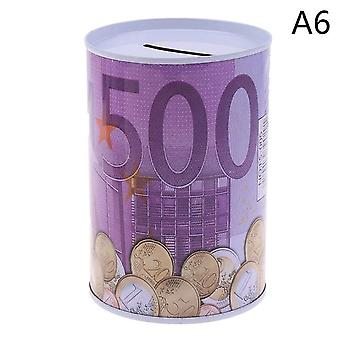 Tinplate Cylinder Piggy Bank Euro, Dollar Picture Box For Household Saving &