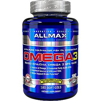 ALLMAX Nutrition, Omega-3, Ultra-Pure Cold-Water Fish Oil Concentrate, 180 Softg