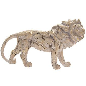 Driftwood Lion Resin Wooden Carved Effect Animal Statue Ornament