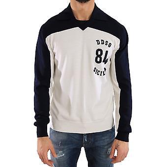 Dolce & Gabbana Blå Hvit Ull Crewneck Genser Genser TSH1877-1