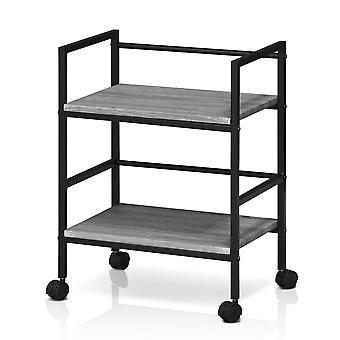 Furinno Modern Storage Cart with Casters, French Oak Grey
