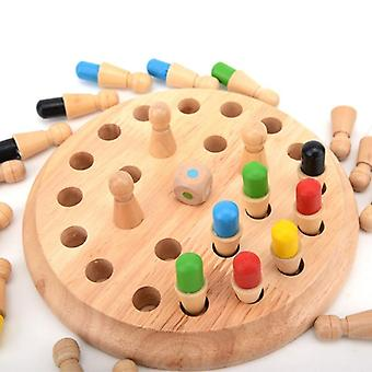 Children's Wooden Puzzle Board Game - Color Memory Chess Piece, Parent-child