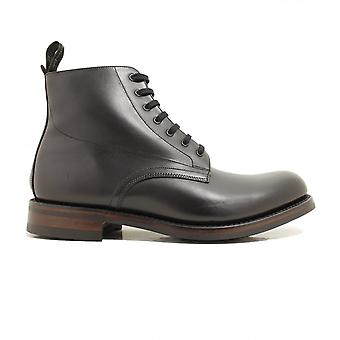 Loake Hebden Black Waxy Leather Mens Plain Front Derby Boots