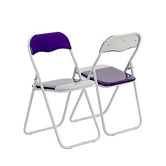 Purple / White Padded, Folding, Desk Chair - Pack of 6