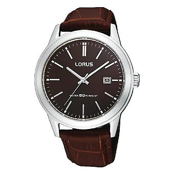 Lorus Mens Polished Case Watch with Leather Strap (Model No. RH925BX9)