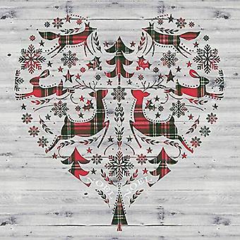 Grey Christmas Winterly Woodcut Napkins x 20