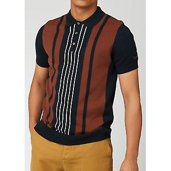 חולצת פולו סרוגה עם שרוולים קצרים פסים בשחור וחום