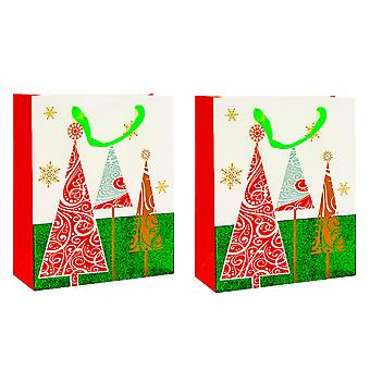 Christmas Items Gift Bags With Gorgeous Designs and Ribbon Handles Pack of 2