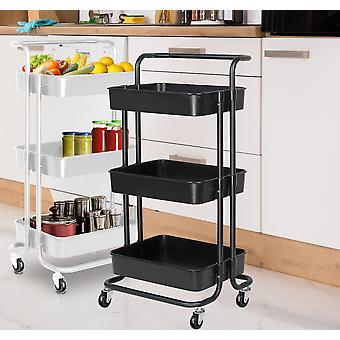 Storage trolley on wheels 3 tier kitchen bathroom storage trolley cart