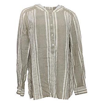 Denim & Co. Women's Top Striped Yarn Dyed W/Button Detail Green A275870