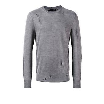 Alexander Mcqueen 455963q1rov1110 Men's Grey Wool Sweater