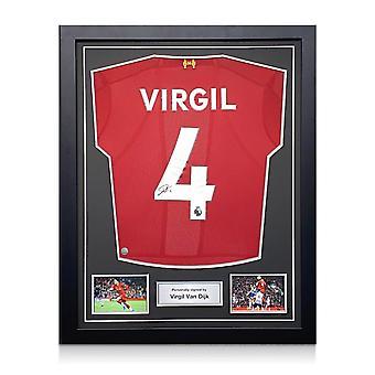 ヴァージル・ヴァン・ダイクはリバプールのシャツをサインしました。標準フレーム
