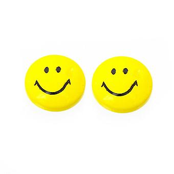 Earrings magnetic with smiley face design top 6mm sold as a pair