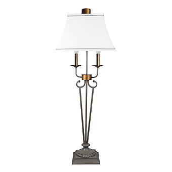 Black Metal 2 Light Double Arm Table Lamp with White Linen Shade